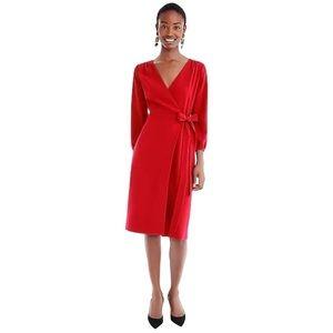 j crew 365 crepe wrap dress red 3/4 sleeve midi
